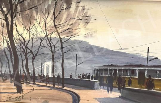Eladó Dobroszláv József - Dunakorzó villamossal, háttérben az  Erzsébet-híd (Budapest) festménye