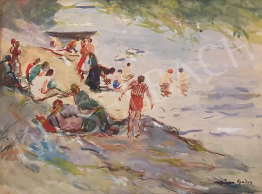 Eladó  Kássa Gábor - Szabadfürdő a Dunaparton festménye