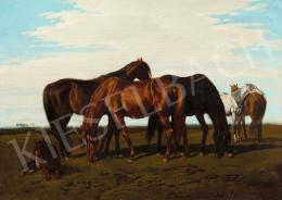 Lotz Károly - Magyar táj lovakkal (Alföldi ménes), 1860 körül