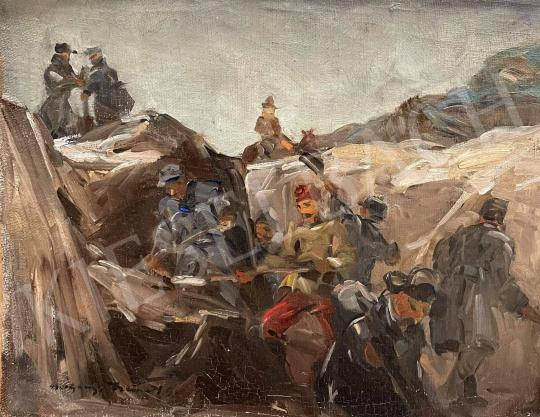 Eladó Gyertyáni Németh Gyula - Katonák a lövészárokban festménye