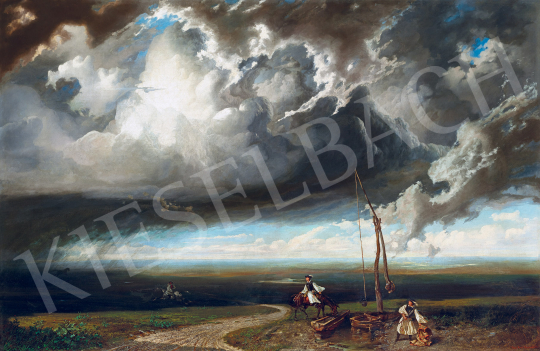 Eladó Telepy Károly - Magyar táj gomolygó felhőkkel (Gróf Berchtold Richárd, Gróf Berchtold Artur, Gróf Berchtold István) festménye
