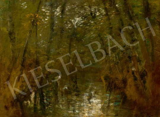 Eladó  Mednyánszky László - Különleges fények a vízparton, 1900 körül festménye