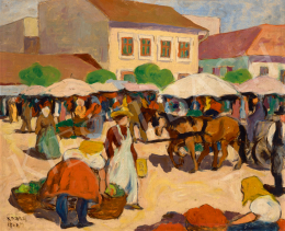 Kádár Béla - Vásár a szolnoki piactéren, 1910