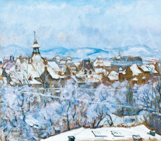 Csók István - A téli Budapest (Friss hó), 1915 festménye