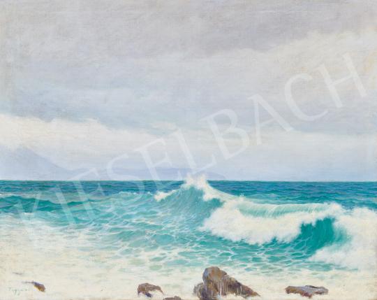 Eladó  Tagyosi Rátz Péter - Hullámok az Adrián, 1914 festménye