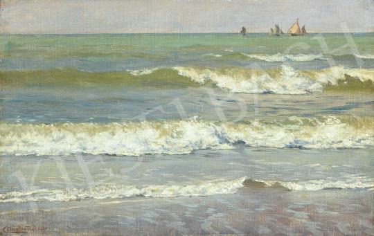 Eladó  Nádler Róbert - Hullámok az Atlanti óceán partján festménye