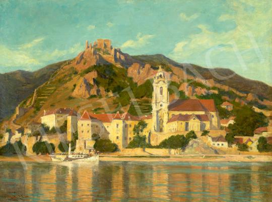 Nádler Róbert - Dürnstein látképe a Duna felől (Wachau) festménye