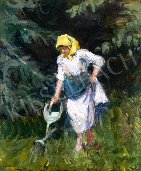 Eladó  Nyilasy Sándor - Kertészlány (A sárga fejkendő), 1910-es évek eleje festménye