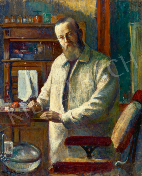 Eladó Honti Nándor - Egy pesti fogorvos rendelőjében, 1909 festménye