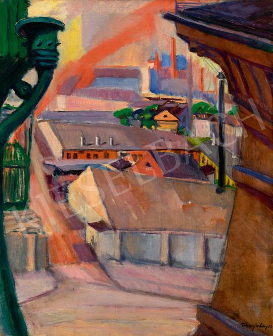 Eladó Tihanyi Lajos - Kilátás a műterem ablakból (Budapesti részlet), 1913 festménye