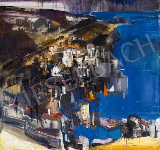 Eladó Aba-Novák Vilmos - Dél-olasz város vitorláskikötővel (Cefalu), 1930 festménye