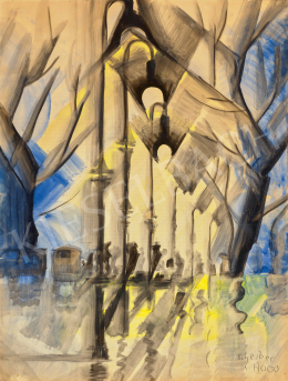 Scheiber, Hugó - After Rain Lights on the Boulevard (Horse Carriage, Car, Reflection), the middle of the 1930's