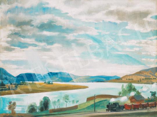 Eladó  Szőnyi István - Zebegényi táj a Dunával és a felhőkön átszűrődő napsugarakkal, 1920-as évek festménye