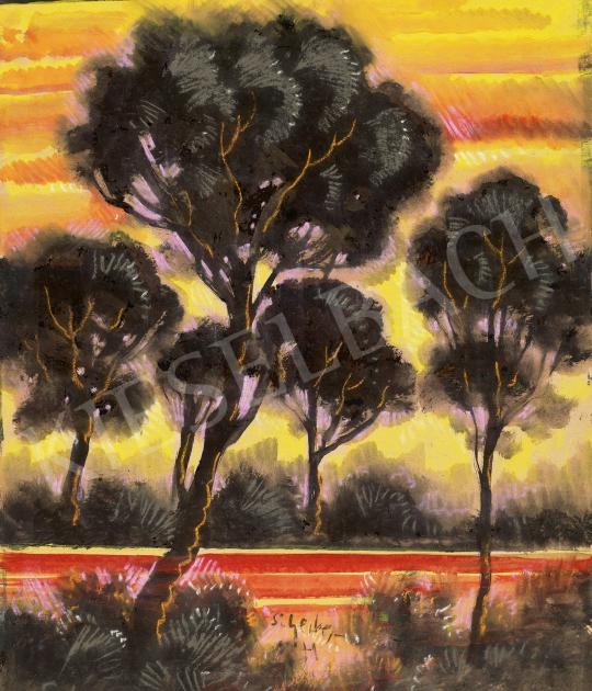 Eladó  Scheiber Hugó - Vörös ég alja (Naplemente a vízparton), 1930-as évek festménye