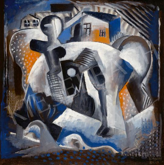Eladó  Kádár Béla - Art Deco kompozíció (Kisváros, ember, ló), 1926 körül festménye