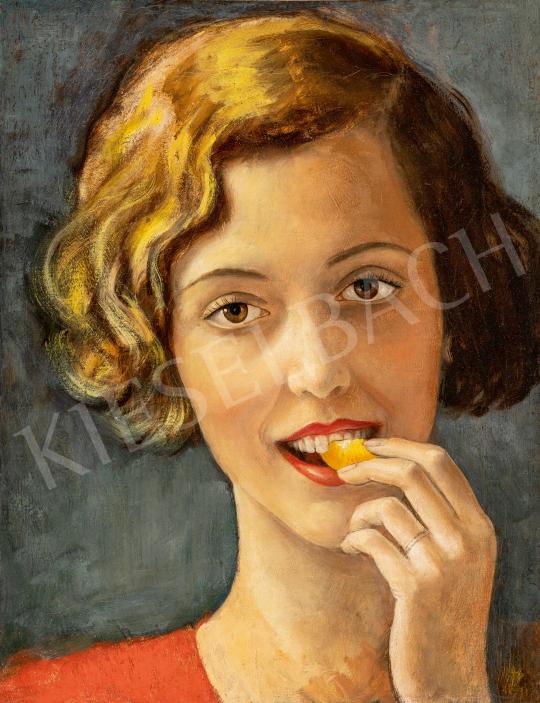 Eladó Góth Imre - Fiatal lány mandarinnal, 1931 festménye
