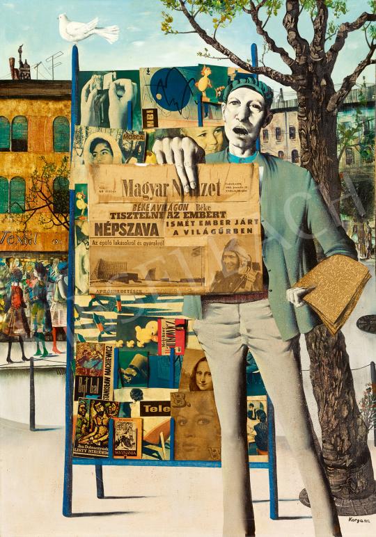 Eladó  Korga György - Budapest, 1962 (Rikkancs, Gagarin, Mona Lisa, Brigitte Bardot), 1962 festménye