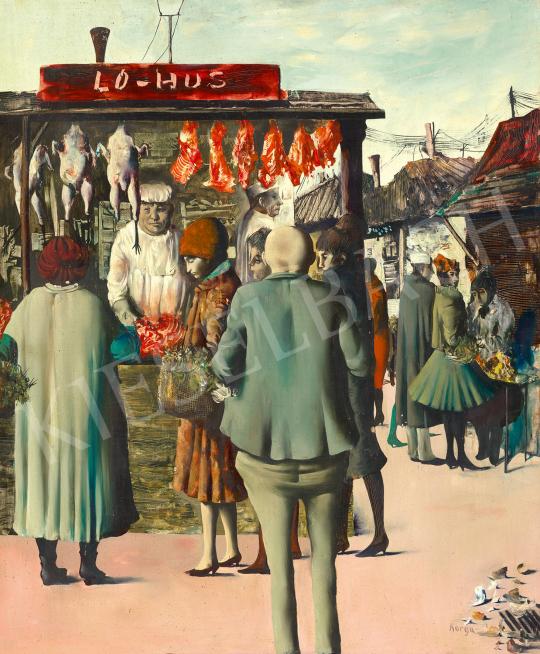 Eladó  Korga György - Teleki téri piac, 1962 körül festménye