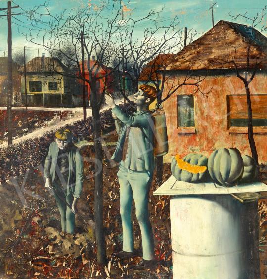 Eladó  Korga György - Őszi munkák (Magyar falu, szocializmus), 1962 festménye