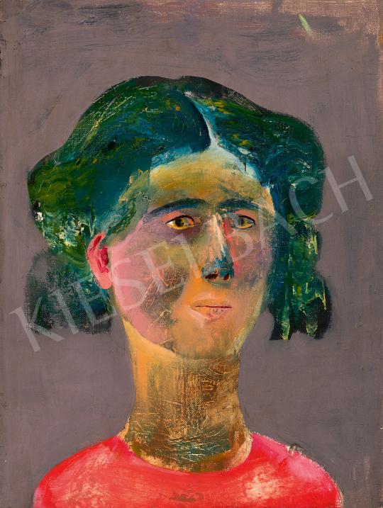 Eladó  Sylvester Katalin  - Festőnő piros pulóverben, 1960–62 körül festménye