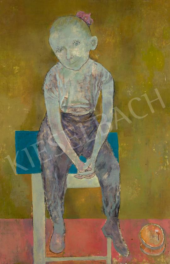 Eladó  Maurer Dóra - Kislány hokedlin (Editke),1960 festménye