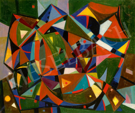 Eladó  Böhm Lipót - Játékos kompozíció (Kaleidoszkóp), 1960-as évek festménye
