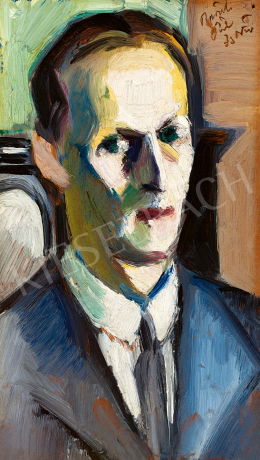 Pál, István - Self-Portrait with Green Background, 1910's