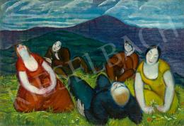 Endresz Alice - Művésztársaság a domboldalon (Piknik a budai hegyekben), 1930 körül