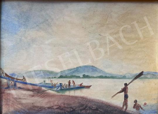 Eladó  Istókovits Kálmán - Evezősök a Dunán festménye