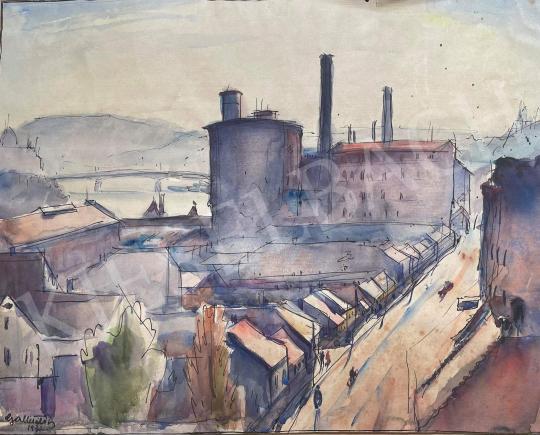 Eladó  Gallé Tibor - Budapest, háttérben a Parlament és a Margit-híd festménye