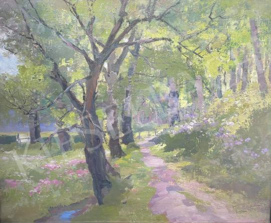 Eladó Kézdi-Kovács László - Tavaszi erdő nyírfákkal és patakkal  festménye