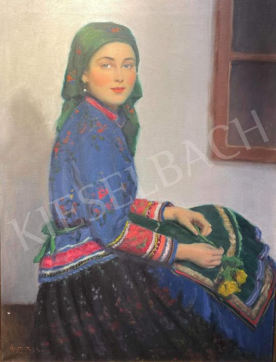 Áldor János László - Lány kék népviseletben, sárga rózsával, 1938 festménye