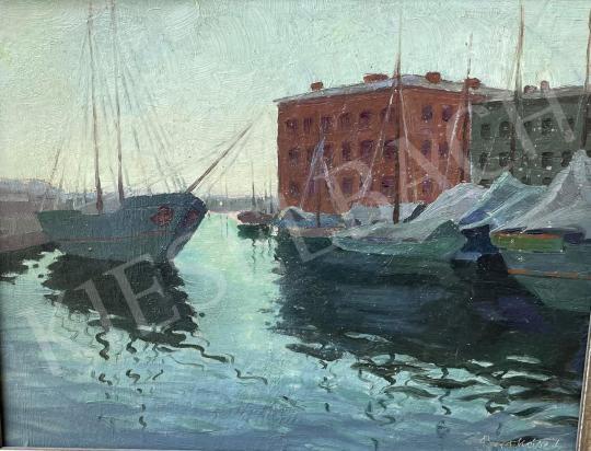 Eladó Barkász Lajos - Kikötő, tükröződés festménye