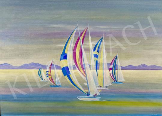 Eladó Ábrahám Rafael - Lila vitorlák (Balaton)  festménye
