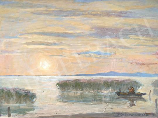 For sale  Csáki-Maronyák, József - Sunrise at the lake Balaton (Fisherman) 's painting