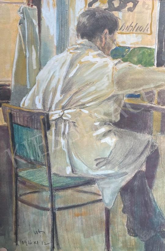 Eladó Ismeretlen festő - A borbély, 1916 festménye
