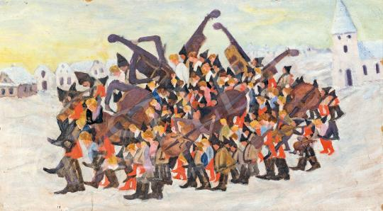 For sale Unknown Hungarian painter, beginning of the 2 - Art Deco Big Band 's painting