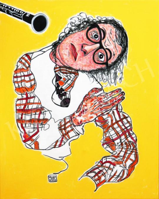 Eladó  drMáriás - Woody Allen megijed a klarinétjától Egon Schiele műtermében festménye
