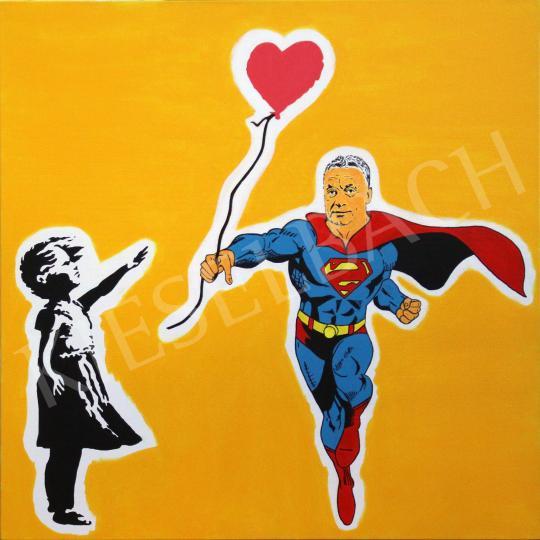 For sale  drMáriás - Superman Viktor Orban brings back the English girl's heart-balloon in Banksy's Studio 's painting