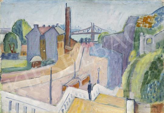 Eladó  Kmetty János - Budapesti látkép a Gellérthegyről a Rudas fürdővel és a Ferenc József híddal, 1920-as évek festménye