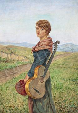 For sale Rubovics, Márk - Girl with Guitarre (Girl with Blue Eyes) 's painting