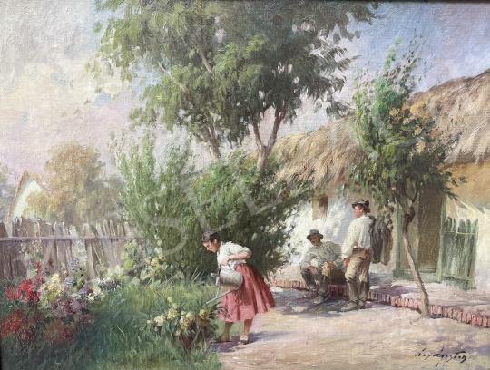 Eladó Ács Ágoston - Udvarlás a tavaszi kertben festménye