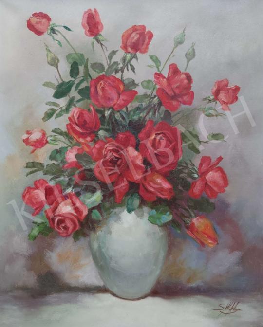 Eladó Ismeretlen festő - Rózsás csendélet festménye