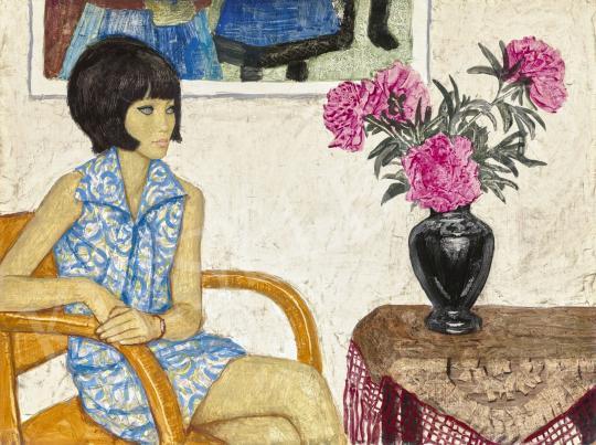 Eladó  Czene Béla - Lány kékmintás ruhában, Kleopátra frizurával (Lány virággal) festménye
