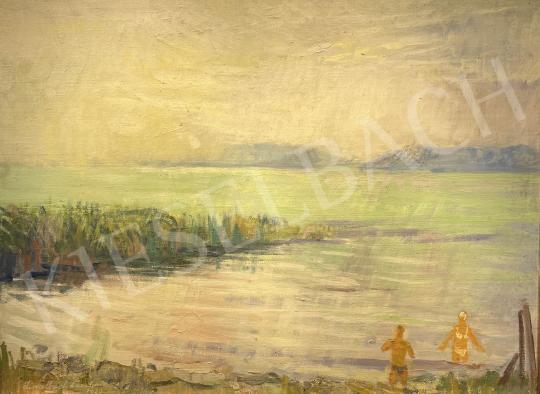Eladó  Zirkelbach László - Fürdőző pár a Balatonnál, 1973 festménye