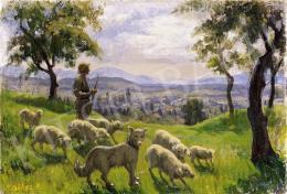Krizsánné Csikós Antónia - Nagybányai domboldal bárányokkal