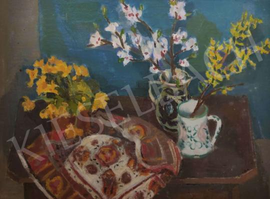 Eladó Ugocsai Antal - Csendélet aranyesővel festménye