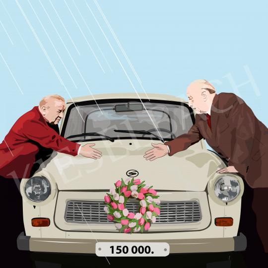 Eladó  Weiler Péter - Gépkocsi átadás tavaszi esőben, 2021 festménye