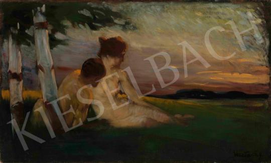 Vesztróczy Manó - Szerelmesek (Megnyugvás), 1910 körül | 65. Aukció aukció / 3 tétel