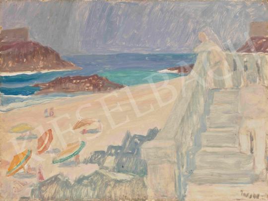 Jakuba János - Mediterrán tengerpart (Lépcsőn felfelé sétáló alak), 1960-as évek | 65. Aukció aukció / 9 tétel